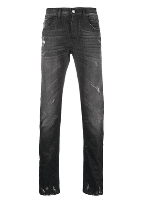 Frankie Morello distressed straight-leg jeans - Black