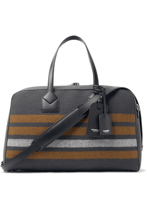 BURBERRY - Leather-Trimmed Striped Virgin Wool-Twill Holdall - Men - Gray