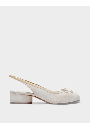 Manuelita Flat Shoes in White Sand Leather