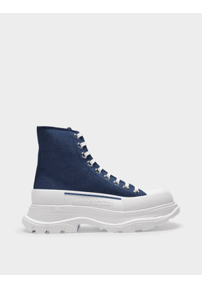Tread Slick Sneakers in Indigo Blue Leather and White Rubber Sole