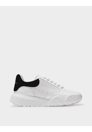 Oversize Sneakers in White Leather with Black Rubber Sole