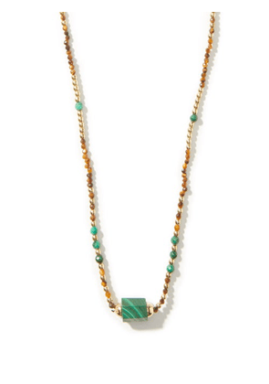 Luis Morais - Bolt Beaded Malachite & 14kt Gold Necklace - Mens - Multi
