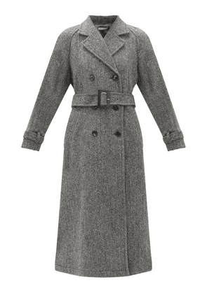 Bella Freud - John's Double-breasted Herringbone Wool-tweed Coat - Womens - Grey