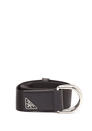 Prada - Triangle Logo-plaque Canvas Belt - Mens - Black