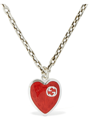 Interlocking G Enamel Heart Necklace