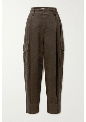 See By Chloé - Pleated High-rise Tapered Jeans - Dark brown