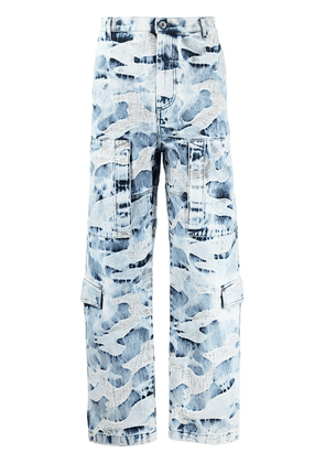 Valentino camouflage-pattern distressed jeans - Blue