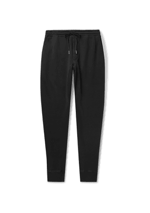 TOM FORD - Tapered Garment-Dyed Fleece-Back Cotton-Jersey Sweatpants - Men - Black