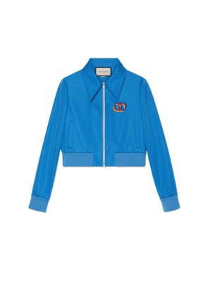 Technical jersey jacket with tiger embroidery