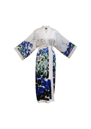 MENG White Floral Silk Satin Robe