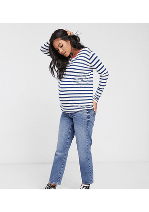 ASOS DESIGN Maternity nursing long sleeve stripe top with contrast binding-Multi