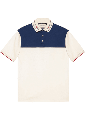 Gucci embroidered-collar polo shirt - White