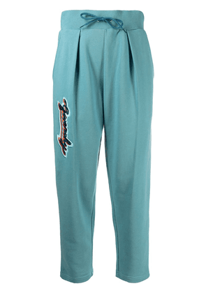 Givenchy logo embroidered cropped track pants - Blue