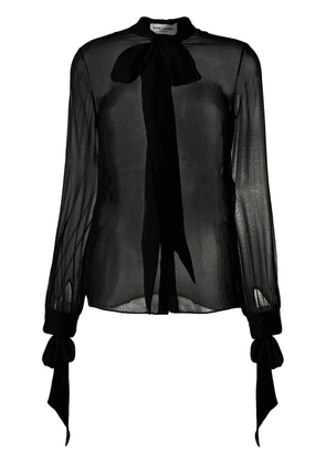 Saint Laurent pussy bow sheer blouse - Black