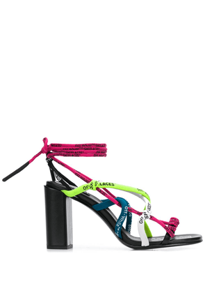 Off-White logo lace-up sandals - Pink
