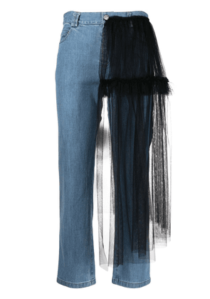 Act N°1 tulle-detail cropped jeans - Blue