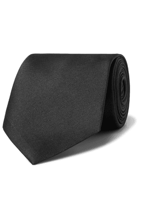 ALEXANDER MCQUEEN - 4cm Logo-Embroidered Silk-Blend Faille Tie - Men - Black