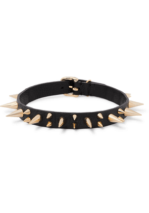 UNDERCOVER - Spiked Textured-Leather and Gold-Tone Choker - Men - Black