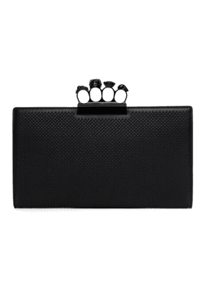 Alexander McQueen Black Skull Four-Ring Flat Clutch