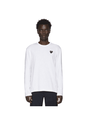 Comme des Garcons Play White and Black Heart Patch Long Sleeve T-Shirt