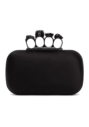 Alexander McQueen Black Four Ring Skull Clutch