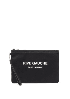 Saint Laurent - Rive Gauche-print Canvas Pouch - Mens - Black White