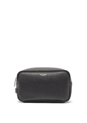 Saint Laurent - Logo-print Leather Wash Bag - Mens - Black