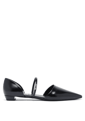 Prada - Point-toe Spazzolato-leather D'orsay Flats - Womens - Black
