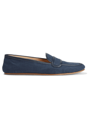 Gabriela Hearst Brodie Leather-trimmed Linen Loafers Woman Navy Size 35