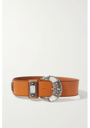 Etro - Leather And Mother-of-pearl Belt - Tan