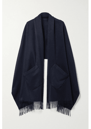 Loro Piana - Fringed Suede-trimmed Cashmere Scarf - Midnight blue