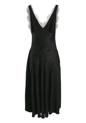 Alexa Chung damask satin slip dress - Black