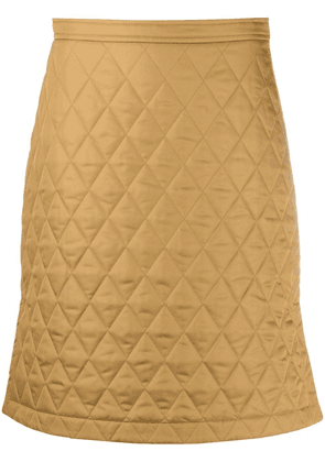 Burberry diamond-quilted A-line skirt - Brown