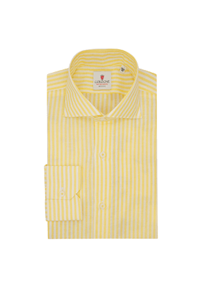 White and Yellow Cotton and Linen Big Zevi Striped Shirt