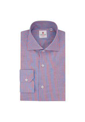 Blue Royal Voile and Red Cotton and Linen Shirt