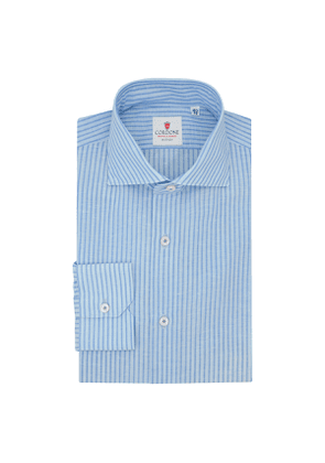 Blue Royal Voile and Azure Cotton and Linen Shirt