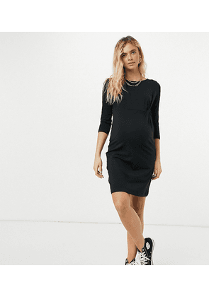 Mamalicious Maternity mini dress with twist front detail in black