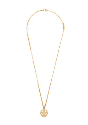 Off-White logo disc pendant necklace - Gold