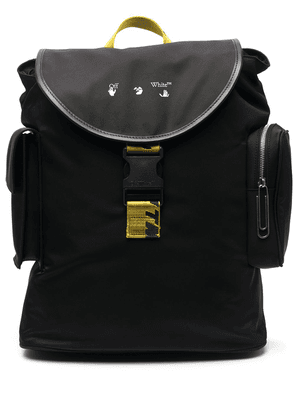 Off-White logo-print foldover top backpack - Black