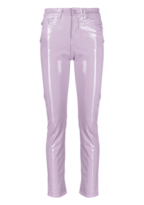 Fiorucci Yves mid-rise glossy trousers - Purple