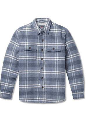 FAHERTY - Faux Shearling-Lined Checked Cotton and Wool-Blend Overshirt - Men - Blue - S