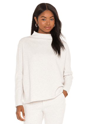 Frank & Eileen Long Sleeve Funnel Neck Capelet Sweatshirt in Light Grey. Size S, XS, M.