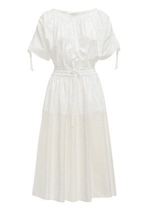 Cotton Poplin & Nylon Midi Dress