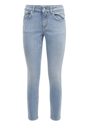 Cotton Denim Slim Fit Crop Jeans
