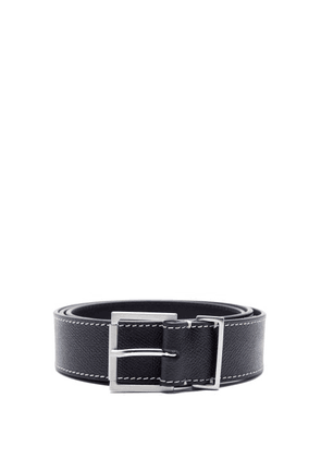 Maison Margiela - Topstitched Grained-leather Belt - Mens - Black