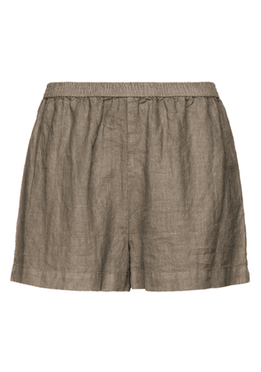 Enza Costa Gathered Linen Shorts Woman Sage green Size 1