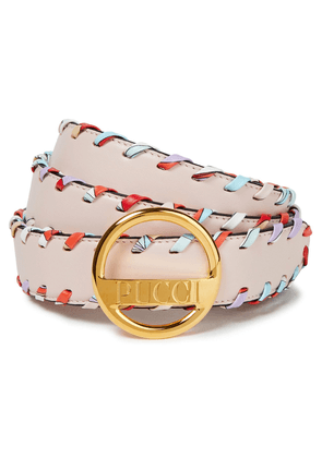 Emilio Pucci Whipstitched Leather Belt Woman Pastel pink Size L