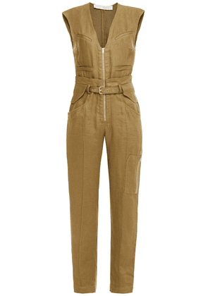 Iro Belted Linen And Cotton-blend Canvas Jumpsuit Woman Army green Size 36