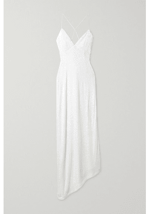 Retrofête - Violet Asymmetric Lace-up Sequined Stretch-tulle Gown - White