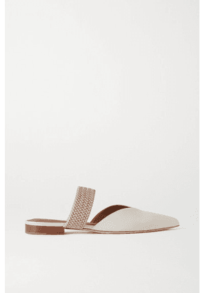 Malone Souliers - Maisie Cord-trimmed Leather Mules - Cream